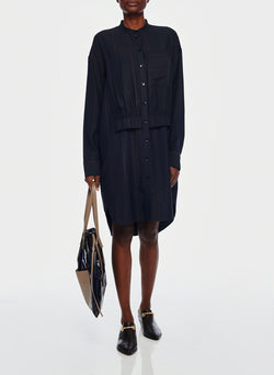 Viscose Twill Stripe Shirt Dress Navy Multi-5