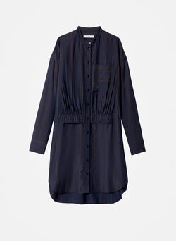 Viscose Twill Stripe Shirt Dress Navy Multi-7