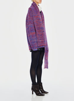 Tweedy Wool Sweater Scarf Blue Multi-2