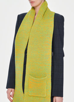 Tweedy Wool Sweater Scarf Green Multi-14