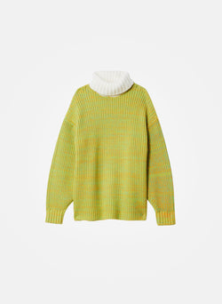 Tweedy Wool Sweater Oversized Turtleneck Green/Ivory Multi-14