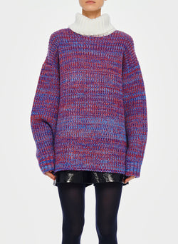 Tweedy Wool Sweater Oversized Turtleneck Blue/Ivory Multi-1