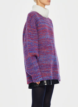 Tweedy Wool Sweater Oversized Turtleneck Blue/Ivory Multi-3