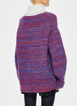 Tweedy Wool Sweater Oversized Turtleneck Blue/Ivory Multi-4