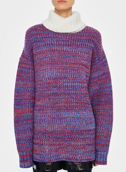 Tweedy Wool Sweater Oversized Turtleneck Blue/Ivory Multi-6