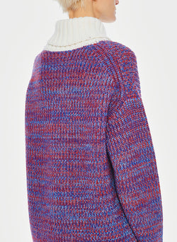 Tweedy Wool Sweater Oversized Turtleneck Blue/Ivory Multi-2