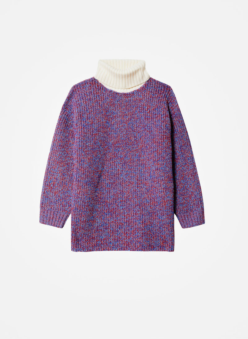 Tweedy Wool Sweater Oversized Turtleneck Blue/Ivory Multi-8