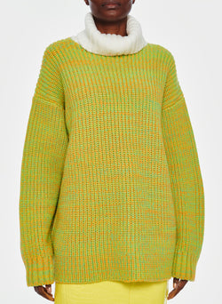 Tweedy Wool Sweater Oversized Turtleneck Green/Ivory Multi-9