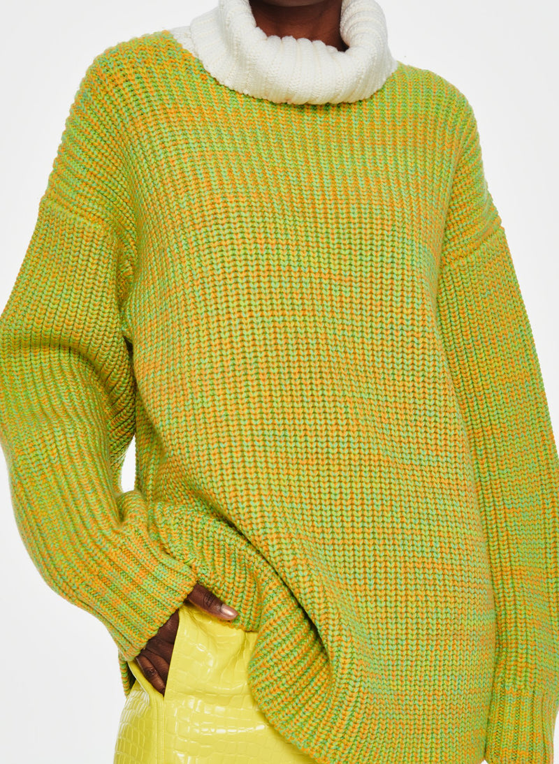 Tweedy Wool Sweater Oversized Turtleneck Green/Ivory Multi-12