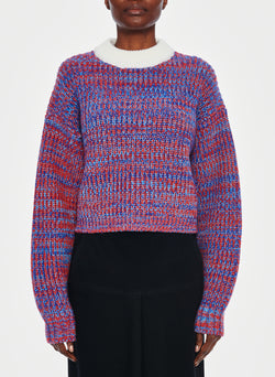 Tweedy Wool Sweater Cropped Crewneck Blue Multi-1
