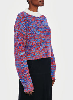 Tweedy Wool Sweater Cropped Crewneck Blue Multi-2