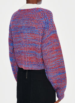 Tweedy Wool Sweater Cropped Crewneck Blue Multi-3