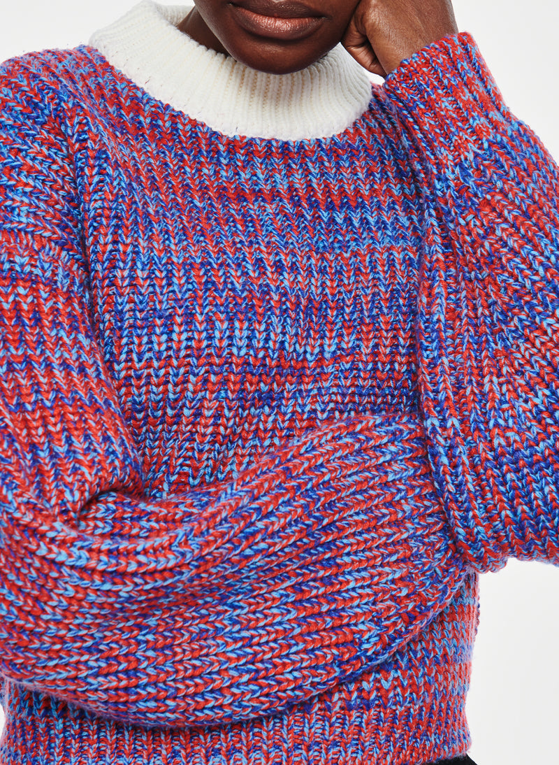 Tweedy Wool Sweater Cropped Crewneck Blue Multi-5