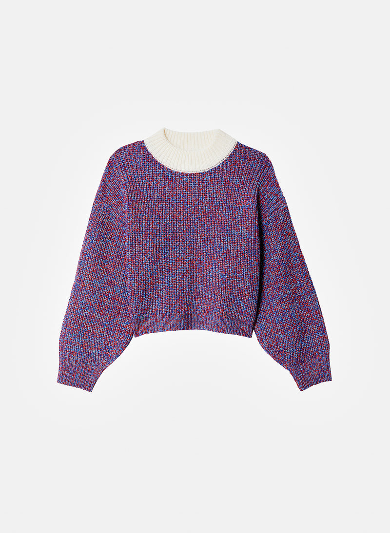 Tweedy Wool Sweater Cropped Crewneck Blue Multi-7