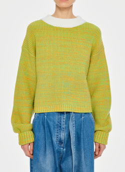 Tweedy Wool Sweater Cropped Crewneck Green Multi-13
