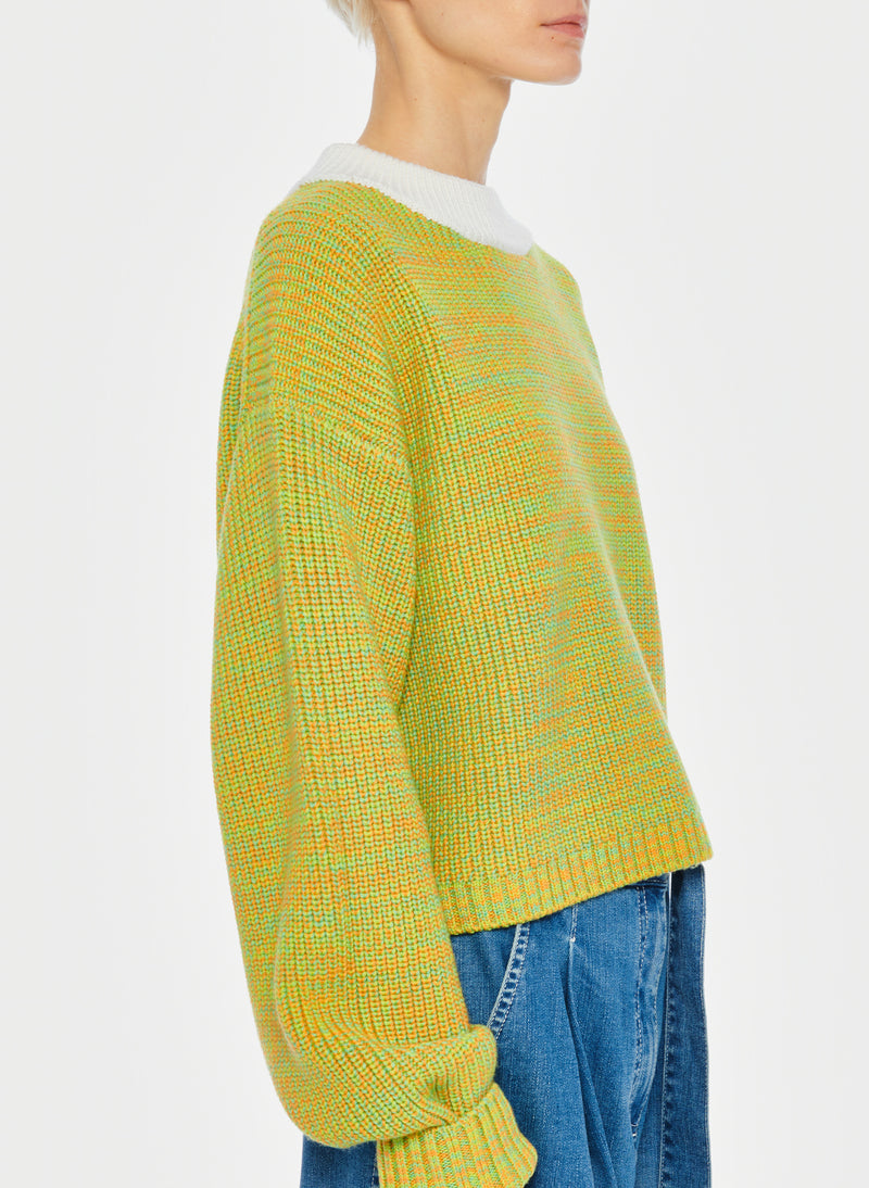 Tweedy Wool Sweater Cropped Crewneck Green Multi-14