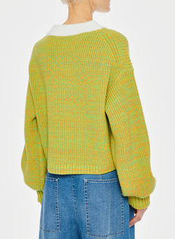 Tweedy Wool Sweater Cropped Crewneck Green Multi-16