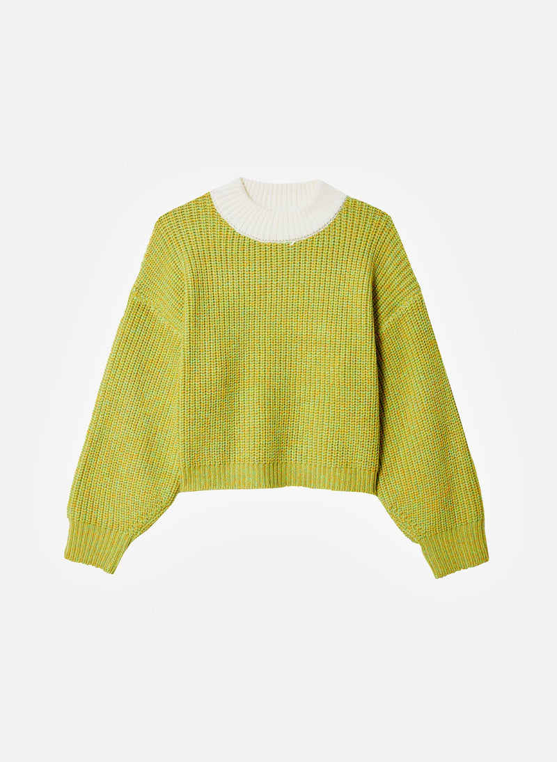 Tweedy Wool Sweater Cropped Crewneck Green Multi-18