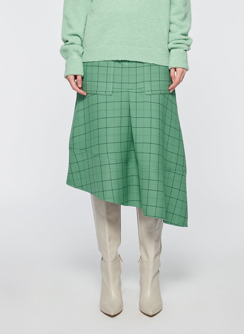 Windowpane Cargo Skirt Celadon Multi-1