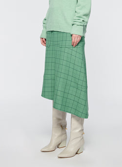 Windowpane Cargo Skirt Celadon Multi-2