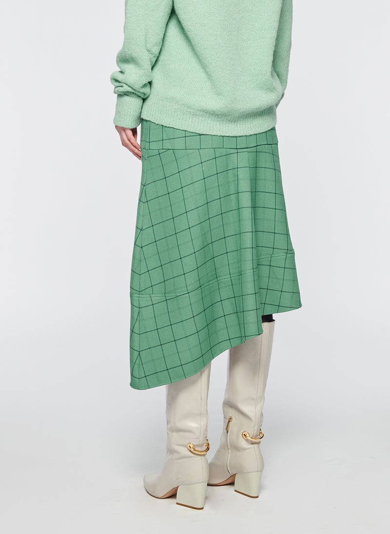 Windowpane Cargo Skirt Celadon Multi-3