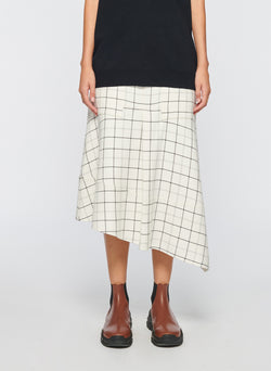 Windowpane Cargo Skirt Ivory Multi-9