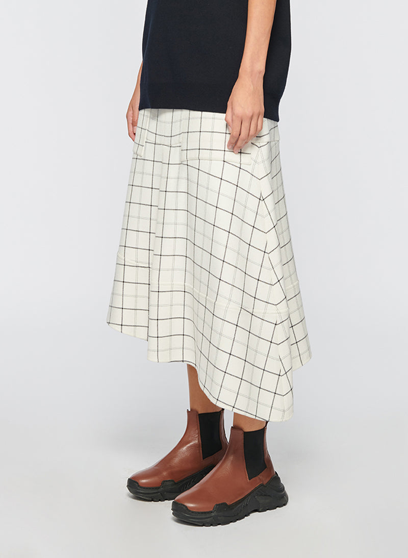 Windowpane Cargo Skirt Ivory Multi-10