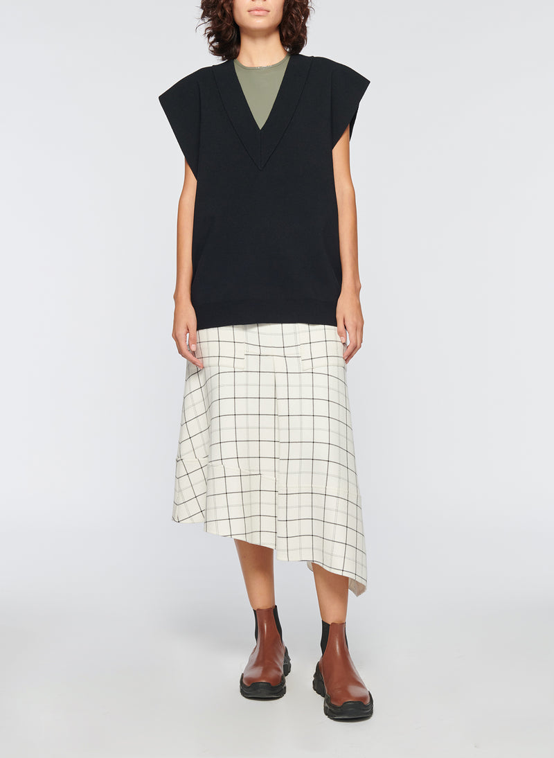 Windowpane Cargo Skirt Ivory Multi-12
