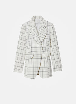 Windowpane Peaked Lapel Blazer Ivory Multi-13