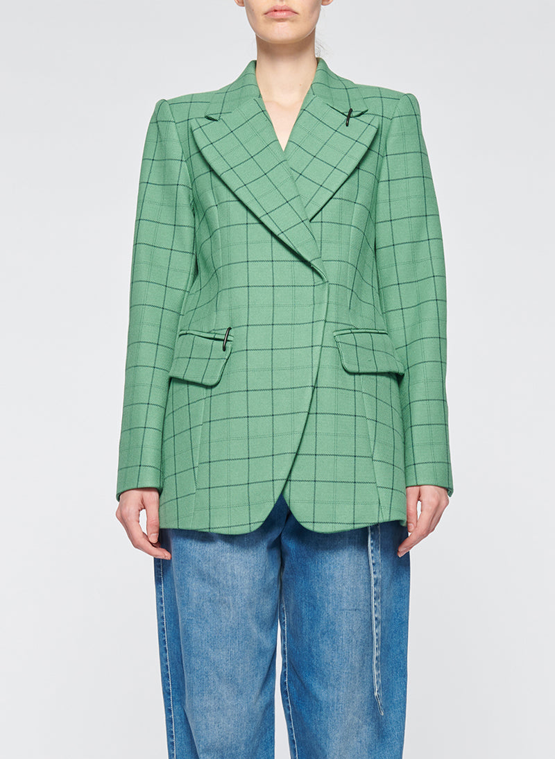Windowpane Peaked Lapel Blazer Celadon Multi-1