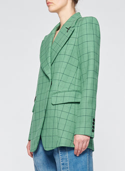 Windowpane Peaked Lapel Blazer Celadon Multi-2