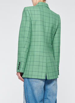Windowpane Peaked Lapel Blazer Celadon Multi-3