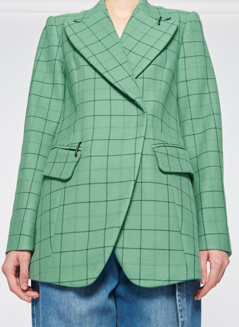 Windowpane Peaked Lapel Blazer Celadon Multi-4