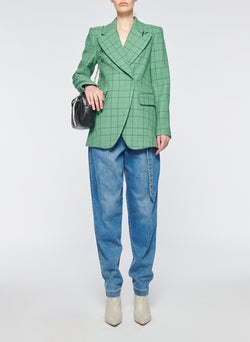 Windowpane Peaked Lapel Blazer Celadon Multi-5
