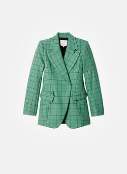 Windowpane Peaked Lapel Blazer Celadon Multi-6