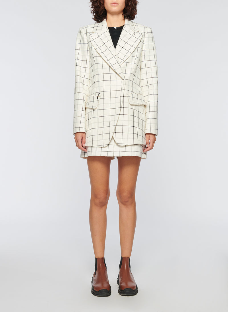 Windowpane Peaked Lapel Blazer Ivory Multi-8