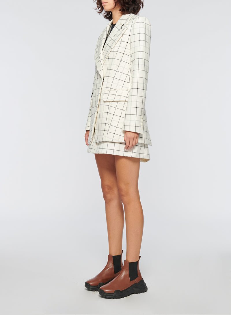 Windowpane Peaked Lapel Blazer Ivory Multi-9