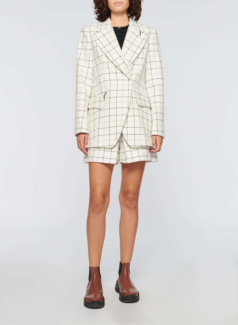 Windowpane Peaked Lapel Blazer Ivory Multi-11