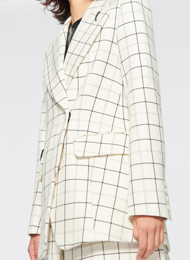 Windowpane Peaked Lapel Blazer Ivory Multi-12