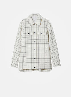 Windowpane Workmen Coat Ivory Multi-5