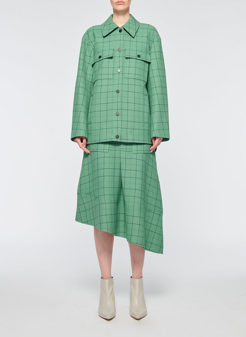 Windowpane Workmen Coat Celadon Multi-1