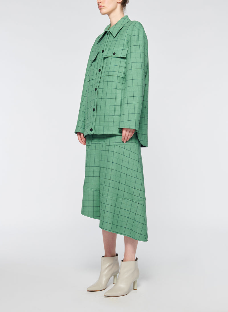 Windowpane Workmen Coat Celadon Multi-2