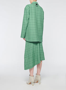 Windowpane Workmen Coat Celadon Multi-3