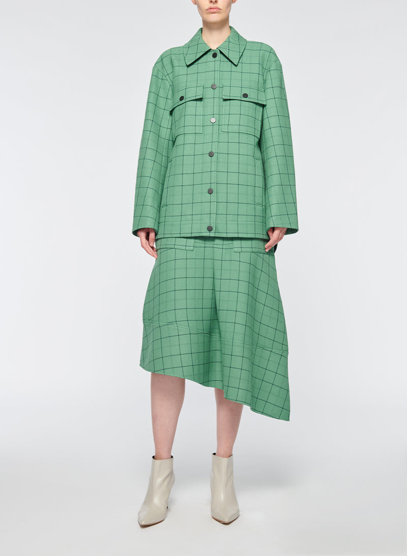Windowpane Workmen Coat Celadon Multi-4
