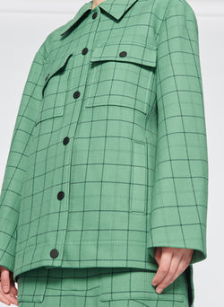Windowpane Workmen Coat Celadon Multi-5