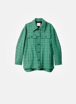Windowpane Workmen Coat Celadon Multi-7