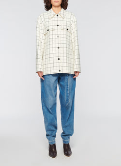 Windowpane Workmen Coat Ivory Multi-9