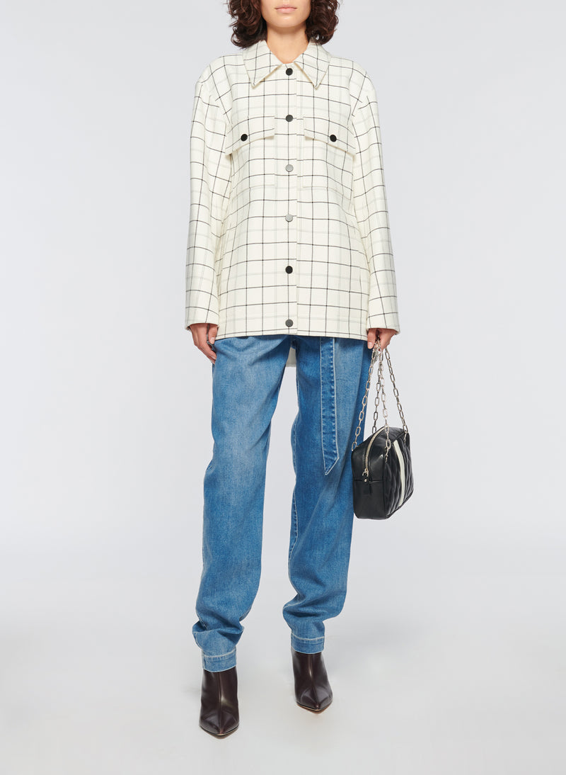 Windowpane Workmen Coat Ivory Multi-13