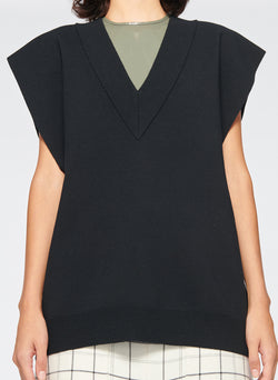 Sculpted Wool Two-Way Sweater Vest Black-5