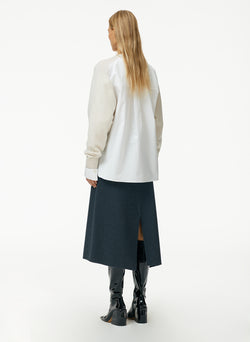 Boiled Wool Sweater Layered Woven Sleeve Pullover Boiled Wool Sweater Layered Woven Sleeve Pullover